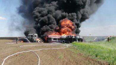 Photo of В Акмолинской области огнеборцы потушили возгорание бензовоза