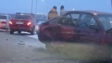 Photo of Три машины столкнулись из-за гололёда в Кокшетау